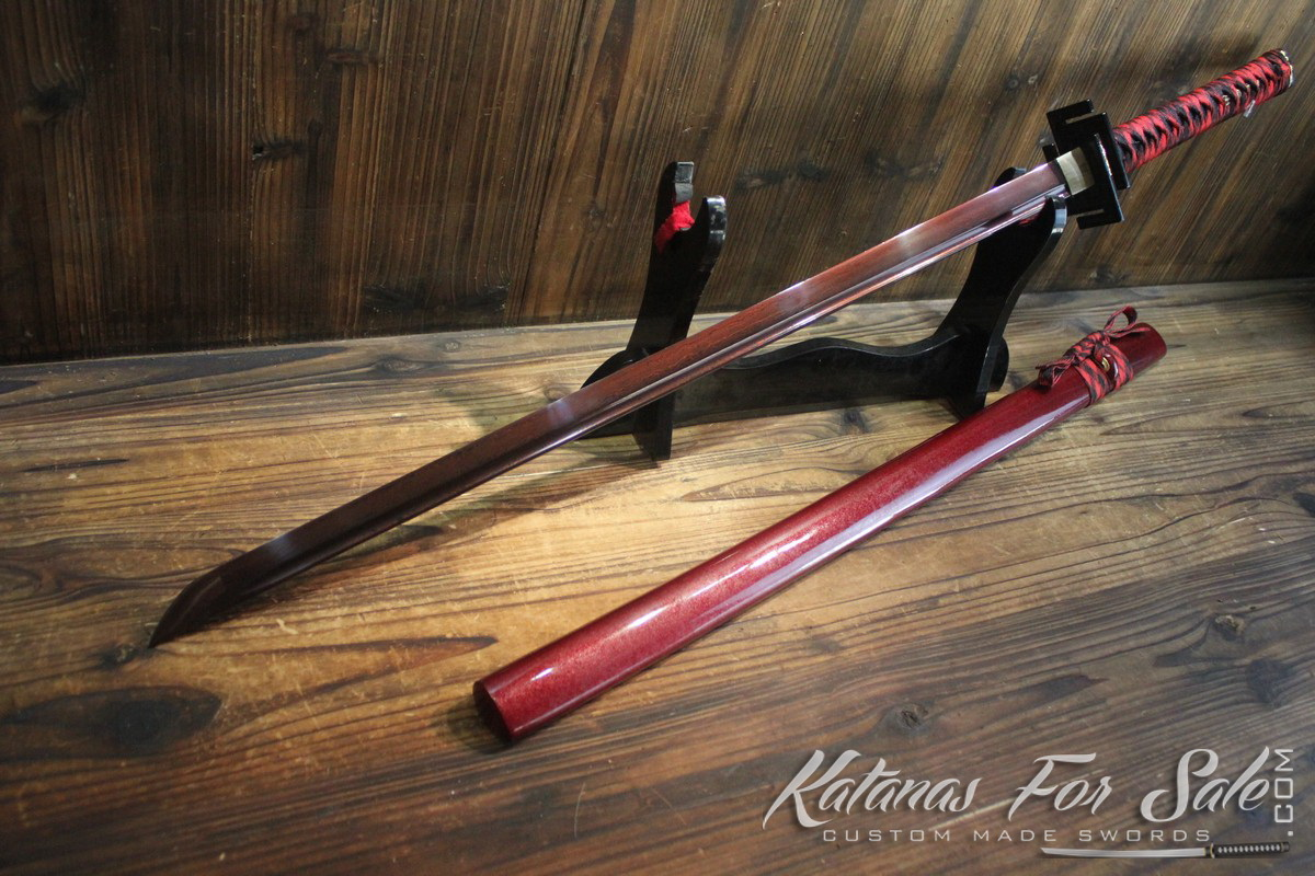1095 Folded Carbon Steel Ninjato Hand Forged with Red ...