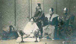 Samurais in feudal Japan following the Bushido virtues
