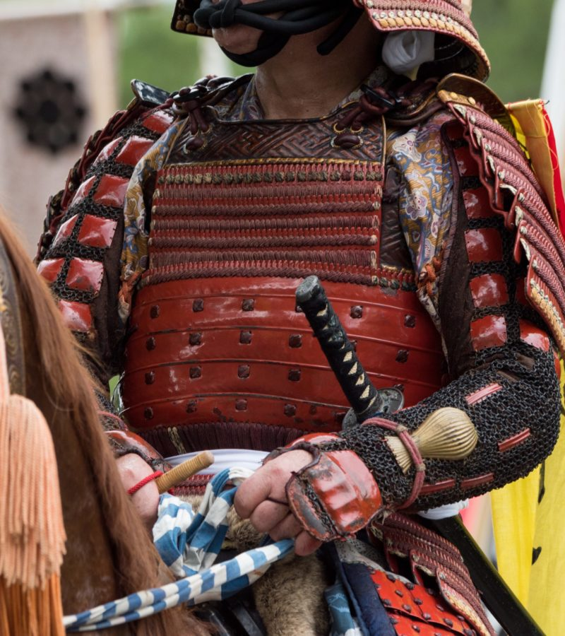 Samurai with armor on horse