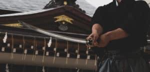 Samurai with Katana meditating about Bushido